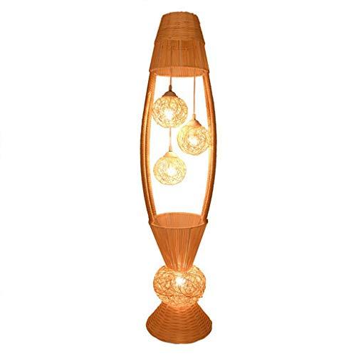 Wicker rotan bloemen schaduw staande lamp fixture rustieke vloerlamp Land Azië Art Deco Night Stand Light Foyer staande lamp voor slaapkamer voetschakelaar