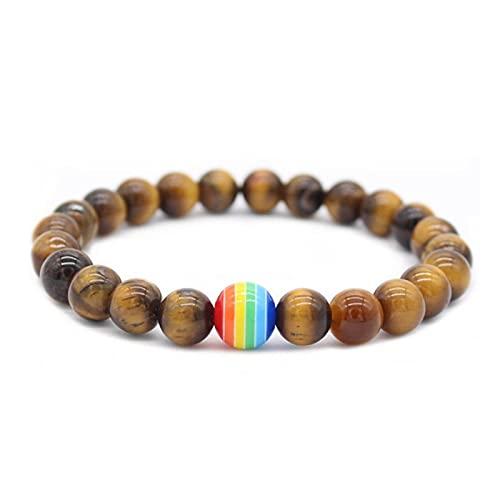 Pulsera de cuentas de arco iris de piedra del orgullo de la pareja de pulseras masculinas femeninas hechas a mano joyería