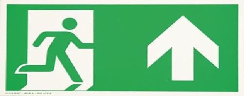 smartboxpro 245186710 Hinweisschild - Notausgang oben, B 29.7 x H 14.8 cm, grün/weiß