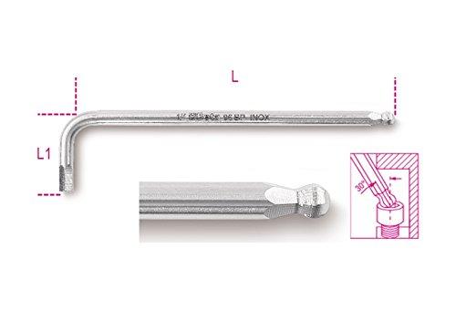 Llave hexagonal Beta 96BP: INOX AS 1/8 cabeza de bola Offset, hecha de acero inoxidable, tamaño 1/8', 101 mm de longitud