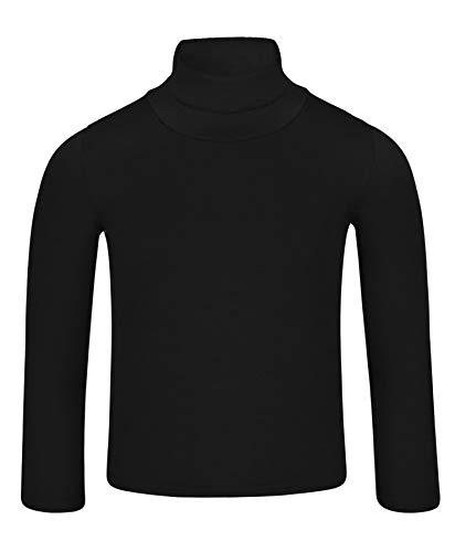 LOTMART Kinder Uni Einfach Langärmelig Figurbetont Rollkragen Hemd, Schwarz, 146-152 (Herstellergröße: 11-12 Jahre)