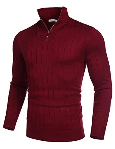 COOFANDY Maglione a collo alto, da uomo, a maniche lunghe, con collo alto e mezza zip, a maniche lunghe, Colore: rosso, L