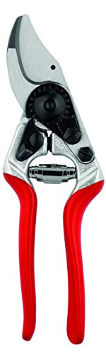 Felco Pruning Shears (F 14) - High Performance Swiss Made One-Hand Garden Pruner with Steel Blade,Red, Silver