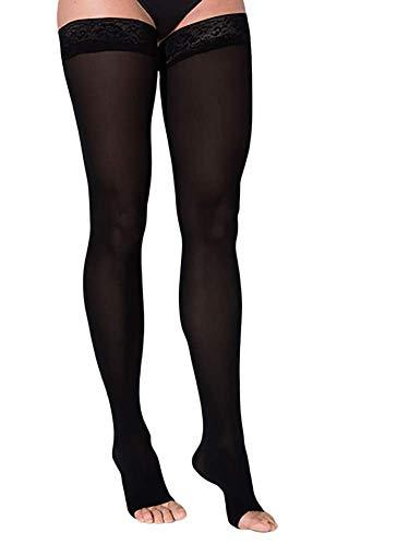 SIGVARIS - Altas de muslo para mujer, suave opaca 840 con puntera abierta, con agarre superior de 0.787-1.181 in Hg, Negro, 1