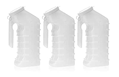 Dealmed Brand Male Urinal with Attached Cover, Translucent Portable Receptacle, Shields Odors, Avoids Spills, 1000 cc, 3/pk