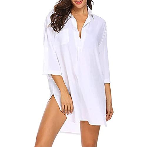 copricostume donna a camicia TBSCWYF Copricostumi Donna Mare Camicia Vestito da Spiaggia Costume da Bagno Camicia Bluse Donna Maniche a 3/4 Copricostume Estivo Costumi da Bagno