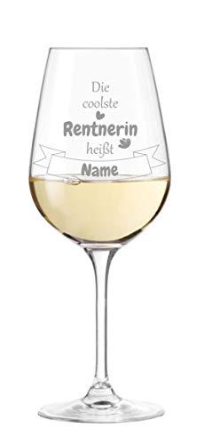 KS Laserdesign Leonardo Weinglas mit Spruch '' die coolste Rentnerin heißt '' persönliche Gravur - Wunschname, Geschenkidee, Ruhestand, Rente