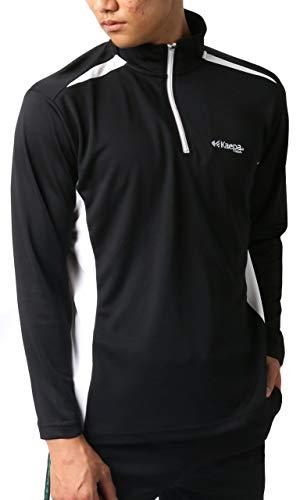 [ケイパ] ランニングウェア アクティブ Tシャツ 長袖 ハーフジップ UVカット 吸汗速乾 ロンT メンズ ブラック L