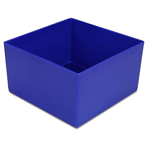 1a-TopStore 10 STK. Einsatzkästen Einsatzboxen Schubladen-Einsatzkasten Sortierboxen, 32 Größen, 5 Farben (blau, 108x108x63 mm)