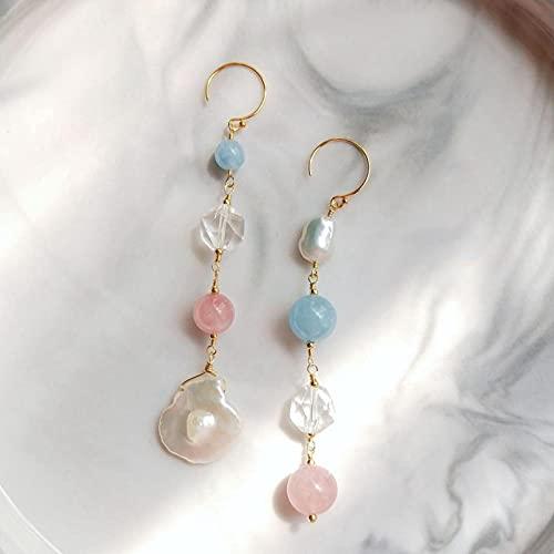 DALIU Pendientes asimétricos de Piedra Genuina únicos Pendientes Largos únicos de Cristal de Perlas barrocas de Cuarzo Rosa de Aguamarina bañada en Oro de EE. UU.