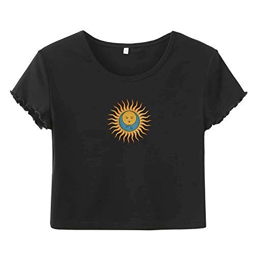 VEMOW Camisetas Corto Casual Suave Camisa Mangas Cortas con Estampado de Estrellas Luna Sol para Mujer, Sexy Informal Ajustado Kawaii Crop Camiseta E-Girl Moda Tops Cortos para Niñas(D Negro,S)
