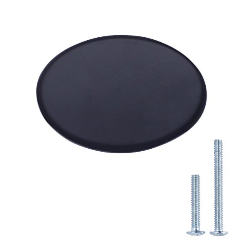 AmazonBasics - Schubladenknopf, Möbelgriff, flach, rund, Durchmesser: 3,66 cm, Matt-Schwarz, 25er-Pack