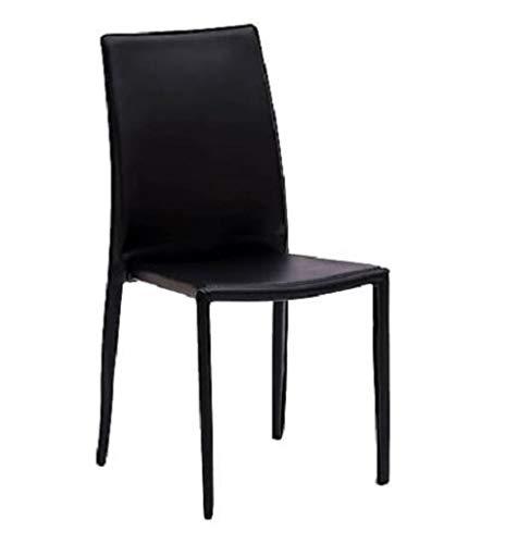 LoryArreda.Com 4 Sedie in Metallo impilabili rivestite in Ecopelle Nera Cucina Ristorante Pub Sala da Pranzo Salotto Studio