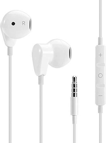 Phone Star In-Ear Kopfhörer Headphones Headset Ohrhörer Klinke AUX 3,5 mm Jack Anschluss mit Mikrofon und Lautstärkeregler in weiß
