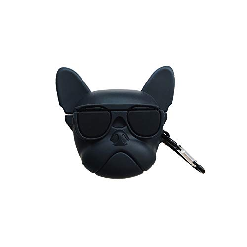 AirPods Pro Case Soft Silicone Black French Bull Dog Cover with Hook Clip for Apple AirPodspro AirPods3 3rd Sunglasses 3D Cartoon Luxury Designer Cool Fun Cute High Fashion Brand Special Girls Men