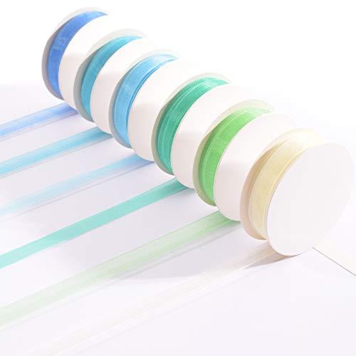 Vaessen Creative Set de Cinta Organza, Azul, Mix de 6 Colores, x, Bordes Tejidos para Hacer Tarjetas, Scrapbooking, Envoltorios, Regalos para un bebé y más Manualidades, Bleu, 6mm 2m