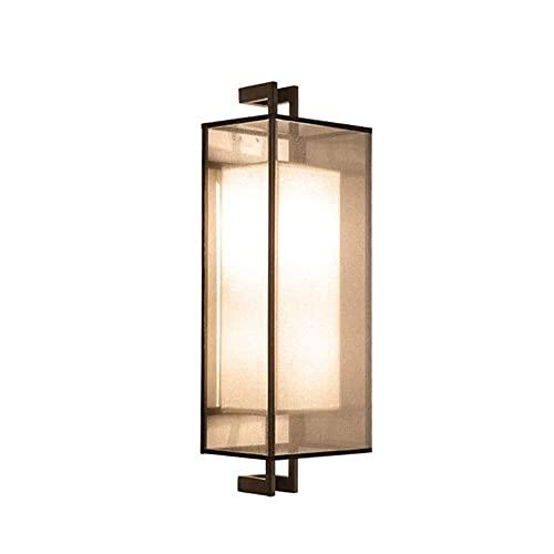 Dfgdf Lámpara de pared dormitorio lámpara de pared LED chino rectángulo dormitorio salón restaurante escalera pasarela lámpara negro hierro