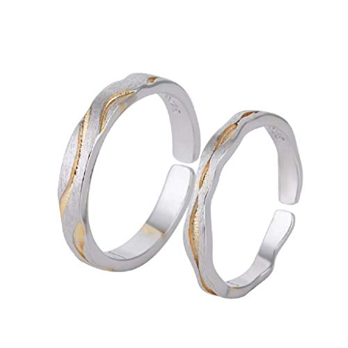 Sterling Silver S925 Men And Women Ring Couple Ring B0050,Silver,Opening,Size:Opening,Colour:Silver Bracelets Earrings Rings Necklaces (Color : Silver, Size : Opening)