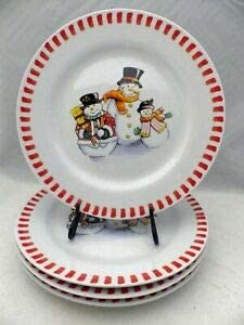 Set of 4 Snowmen Great interest price Bread Butter plates Plates Dessert and
