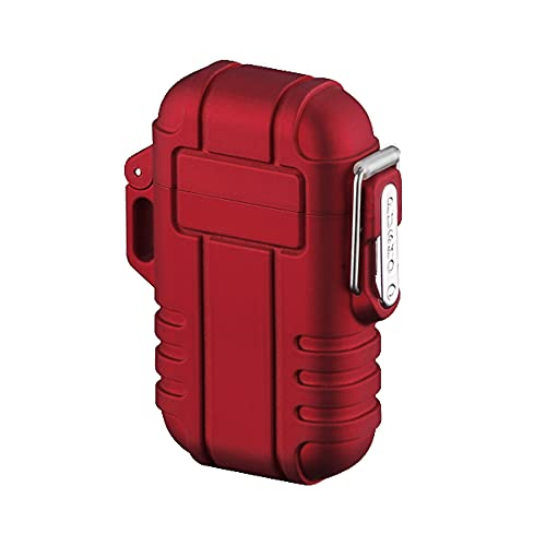 Torch Lighter, Refillable Mini Butane Lighter with Safety Lock, Waterproof Pocket Lighter Windproof Gas Lighter Adjustable Jet Flame Lighter for Camping Grill, Mens Gifts Red(Without Butane)