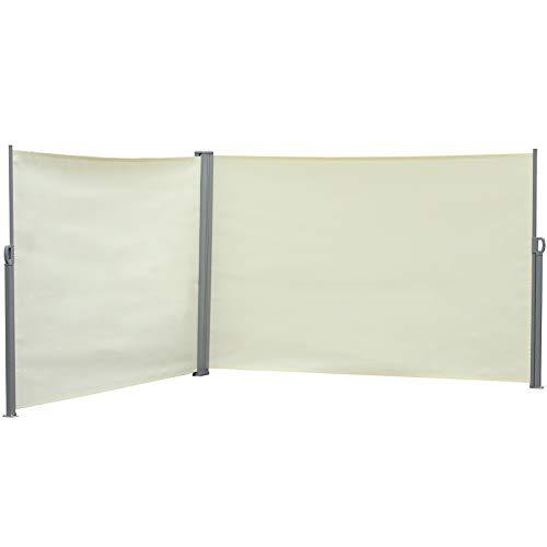 Outsunny Seitenmarkise, Sicht- und Sonnenschutz, Seitenrollo, Polyester, Creme, 6 x 1,8 m