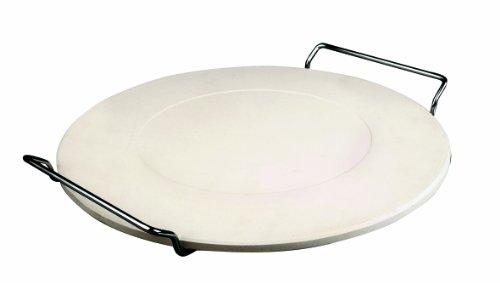 IBILI Pizzastein mit Ständer, Keramik, Silber/beige, 33 x 33 x 4 cm, 2-Einheiten