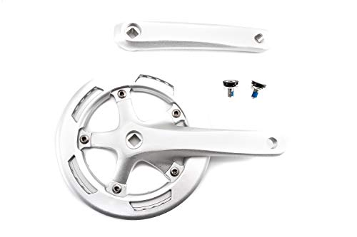 Fahrrad Antrieb Alu Kurbel Kettenrad Garnitur 1 Fach Single 45Zähne 170mm Silber