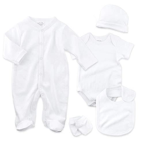 Just Too Cute Baby Set Unisex | Motiv: Weiß | 5 Teile Erstausstattung für Neugeborene & Kleinkinder | Größe: 0-3 Monate (62)