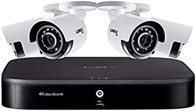 Lorex Weatherproof Indoor/Outdoor Wired 4K Ultra HD Security Bullet Camera - Long Range, Color Night Vision, Wide Field of View, Motion Detection, Smart Home Compatibility - Includes 8 Channel 4K DVR