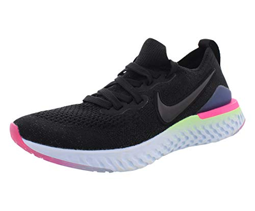 Nike Epic React Flyknit 2 Youth Kids Shoes Athletic Sneakers, Black/Sapphire/Lime Blast, 6 Big Kid