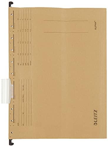 Leitz 19153000 Hängemappe Alpha, Natronkarton, 10 Stück, naturbraun