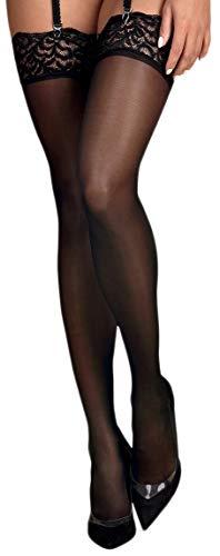 Selente Intriganti calze velate per reggicalze con balze in prezioso pizzo racchiuse in un'elegante confezione regalo (S/M, nero pizzo)