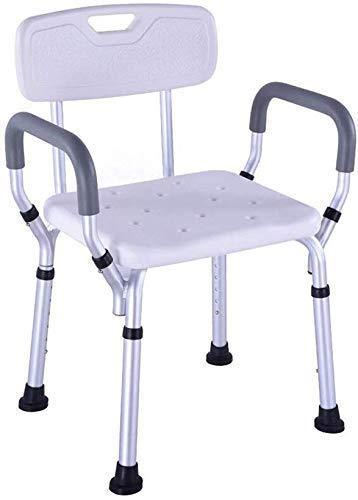 Hocker Badhocker Duschhocker/Badesitz Badesitzbank aus Aluminiumlegierung mit abnehmbarem Handlaufstuhl für Rückenlehnen , 8-stufig verstellbare Höhe für behindertengerechte Duschkabinen f