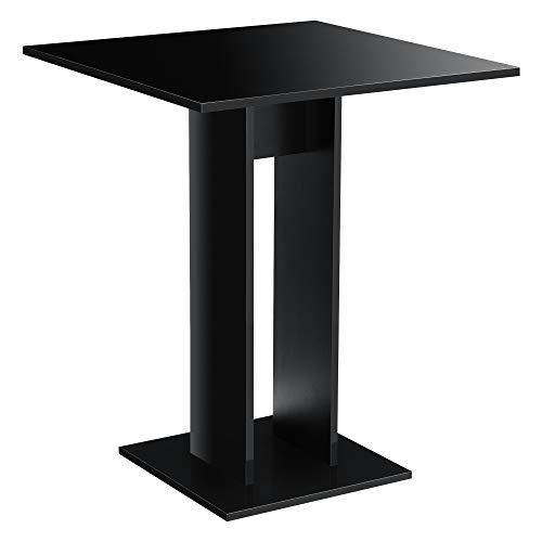 [en.casa] Tavolo da Cucina di Forma Quadrata 65 x 65 x 78 cm Tavolo da Pranzo per Monolocali/Studio Tavolo Fino a 2 Posti - Nero Lucido