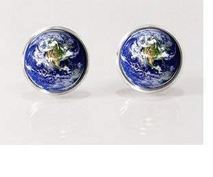 Earth, Globe, World, Planet Earth Post Earrings, Stud Earrings, Nature Jewelry, Glass Earrings, Picture Earrings