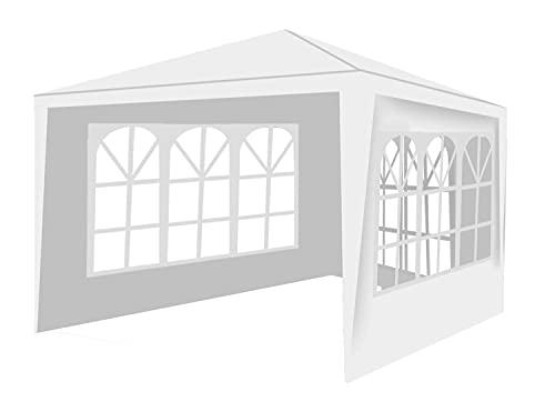 MT MALATEC Pavillon 3x3m 3 Seitenteile Festzelt Gartenpavillon Partyzelt 12840, Farbe:Weiß/White
