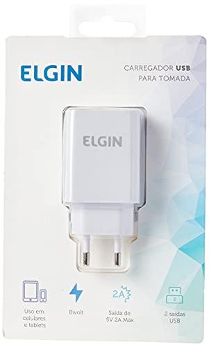 Carregador USB de Tomada Bivolt 2 Saídas 2 A, 22 W, Elgin, 46RCT2USBQC0, Branco