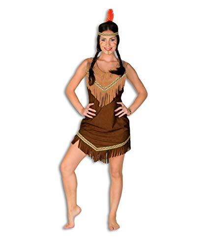 TH-MP Indianerkleid braun mit Fransen Damenkostüm Squaw Faschingskostüm Mottoparty Indianerin Wilder Westen (38)