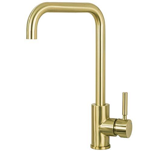 GAPPO Einhebelmischer für die Küche, ohne Blei, 360 Grad drehbar, hoher Bogen-Einhebelstange, für Badezimmer, goldfarben