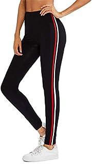 Shocknshop Red & White Side Stripe Ankle Length Mid Wrist Women Girls Teenagers Leggings Black -(LEG30)