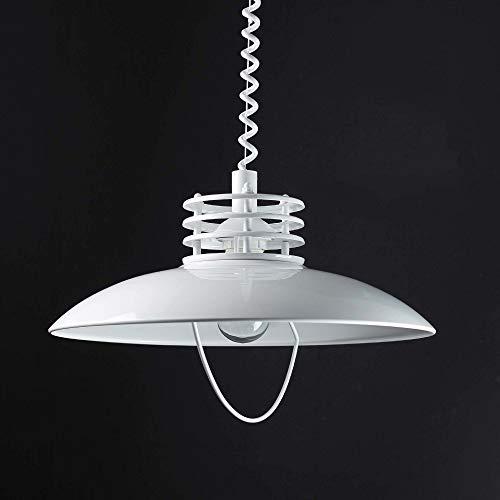 Moderne Hängeleuchte in weiß inkl. 1x 12W E27 LED Pendelleuchte aus Metall höhenverstellbare Hängelampe für Esszimmer Küche Lampe Leuchten innen Beleuchtung