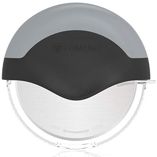 Vomeno® XXL Pizzaroller für perfekte Stücke ohne Kraftaufwand - Profi Pizzaschneider mit integriertem Klingenschutz & Reinigungsfunktion [Edelstahl]