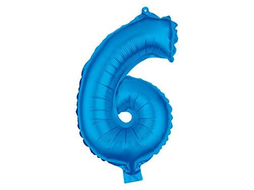 Trend-world Ballon XXL Bleu en Forme de Chiffre Gonflable en Aluminium de qualité supérieure Numéro Environ: 80 cm :BAL-106 Chiffre 6