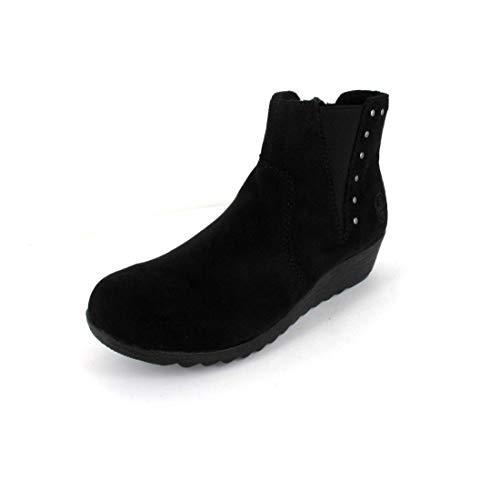 Rieker X2460-00 - Botas tobilleras con tacón de cuña para mujer, color negro, color Negro, talla 38 EU