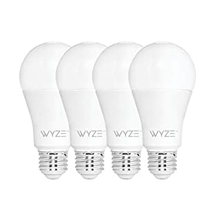 Wyze Bulb 800 Lumen A19 LED Smart Home Light Bulb, Adjustable white temperature and brightness, works with Alexa and the Google Assistant, No Hub Required, 4-Pack (B07RF9NCDP) | Amazon price tracker / tracking, Amazon price history charts, Amazon price watches, Amazon price drop alerts