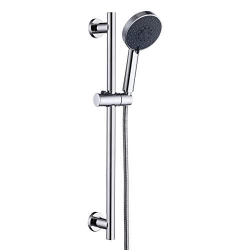 KES Duschsystem Brausestange Selbstklebend Handbrause mit Schlauch und Duschkopfhalterung Edelstahl SUS304 Dusche Duschstange ohne Bohren 5 Funktion Duschkopf Duscharmatur Poliert, F204DG-PS+KP501B-CH