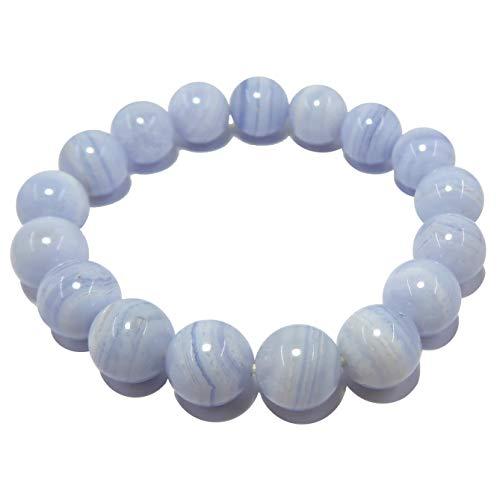 Pulsera de encaje azul ágata de 9 mm Boutique de cristal de refrigeración curación Deluxe AA redondo elástico hecho a mano B01