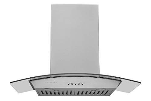 Hauslane | Chef Series Range Hood 30' WM-630 Wall Mount Range Hood | European Style with Stainless Steel and Tempered Glass | 3 Speed, LED Lamps | Ducted or Ventless