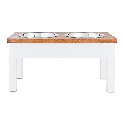 Petco Brand - Harmony White Wood Elevated Double Diner Dog Feeder, 7 Cups, Large