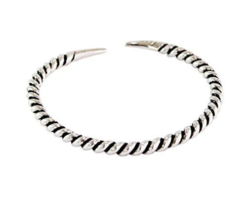 Handgefertigte verstellbare Sterling Silber Armreif für Männer und Frauen